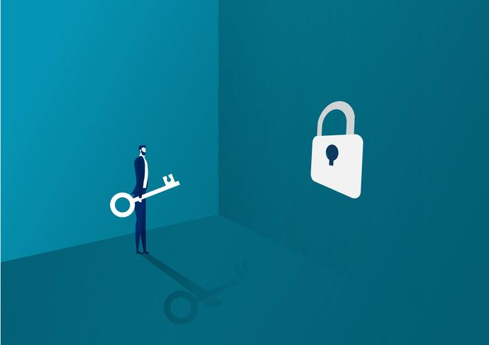 affärsman tar nyckeln och sätter den i ett lås för framgång vektor