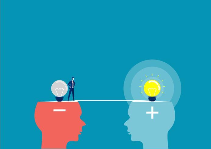 affärsman som går över från negativt huvud till positivt huvud vektor