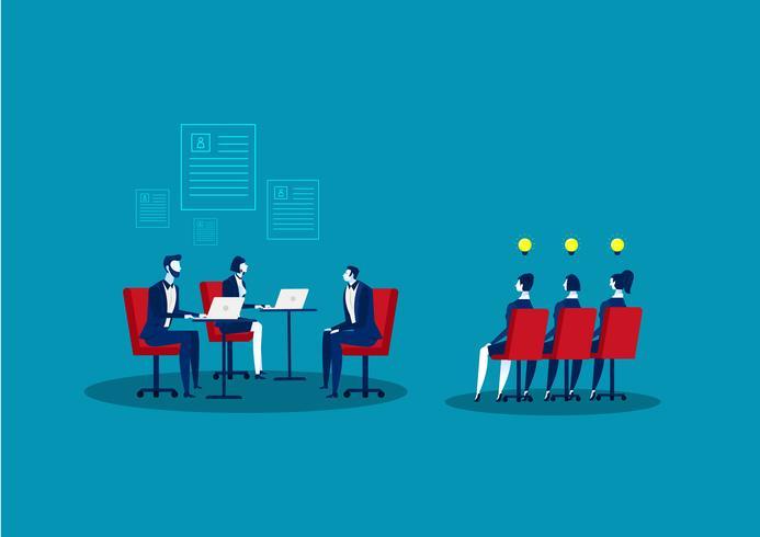 Jobbintervju och rekryteringslustration vektor