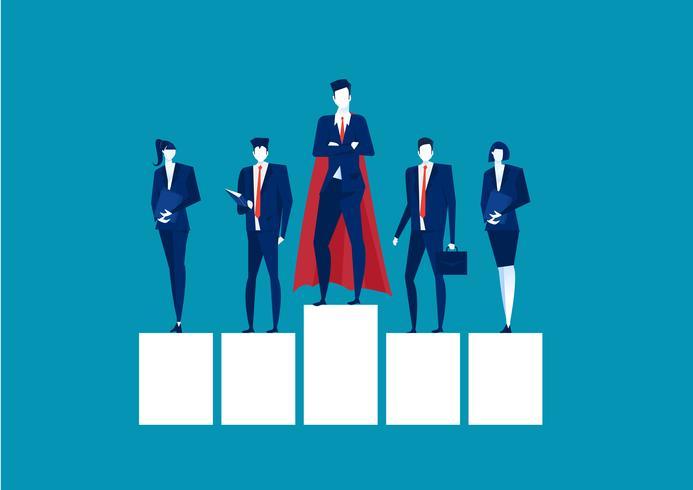 Superhjälteaffärsman som står på en plattform för ledarskap på blå bakgrund vektor