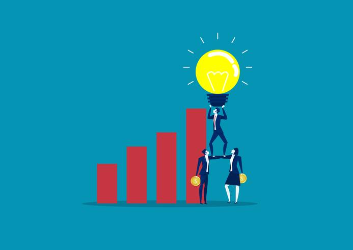 Geschäftsteam, das Glühlampen der Idee über Geschäftsdiagramm hält vektor