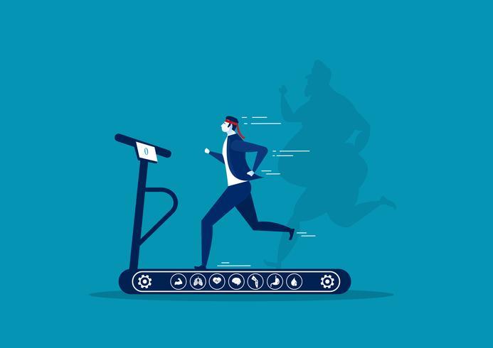 Geschäftsmann läuft auf dem Laufband mit Schatten übergroßen fetten Kerl vektor