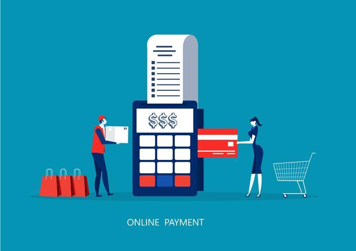Frauenzahlung mit POS-Terminal und Kreditkarte. vektor
