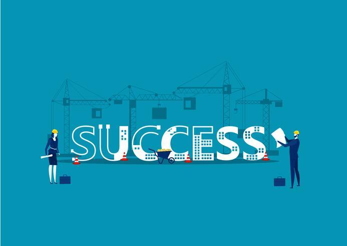 Arkitekter och ingenjörer som arbetar med projekt med SUCCESS-ord vektor