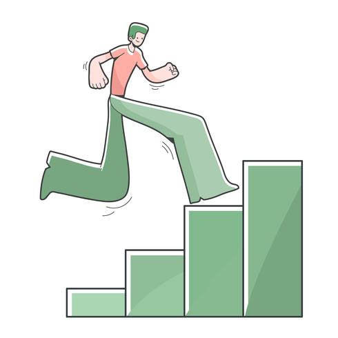 Junge, der oben die Stangen erreichen Ziel klettert nette Karikaturillustration vektor