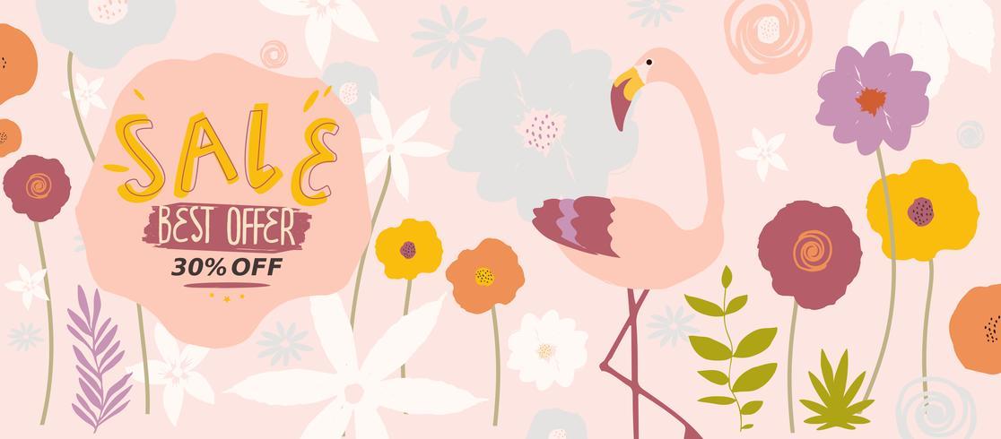 Rosa blommig försäljning webbplats banner vektor