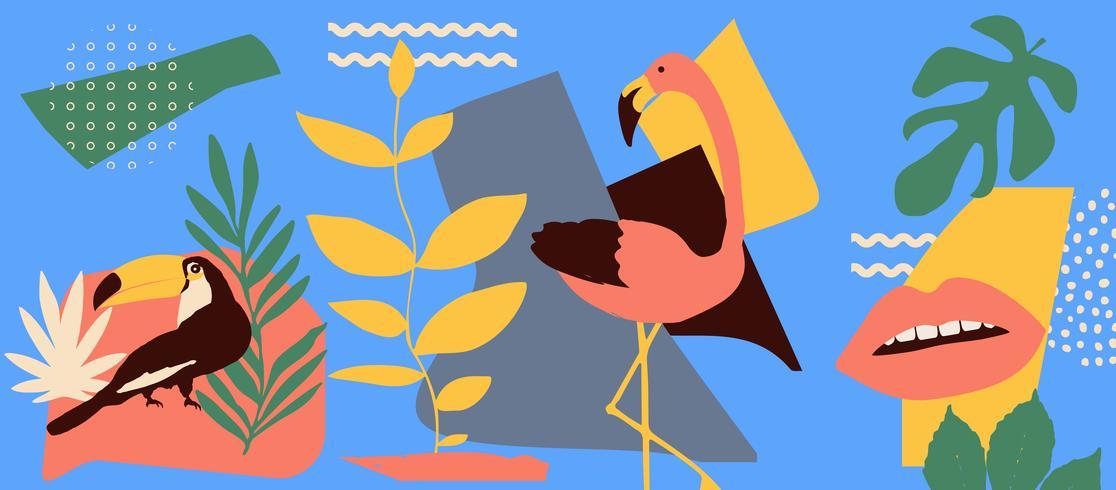 Tropischer Blattplakathintergrund mit Flamingo und Tukan vektor