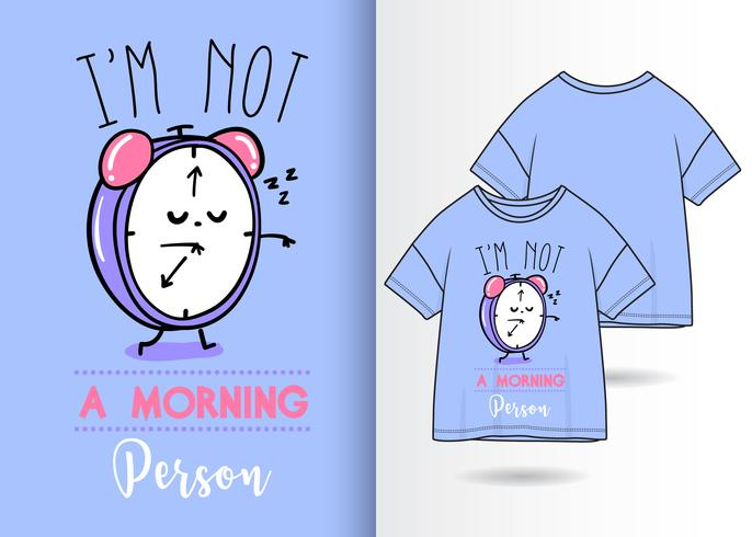 Morgen Person Hand gezeichnete Uhr T Shirt Design vektor