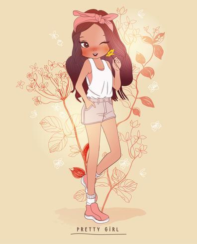 Handritad gullig flicka som rymmer gul blomma med blommabakgrund vektor