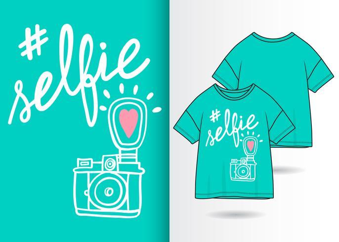 Selfie Hand gezeichnete Kamera mit T-Shirt Design vektor