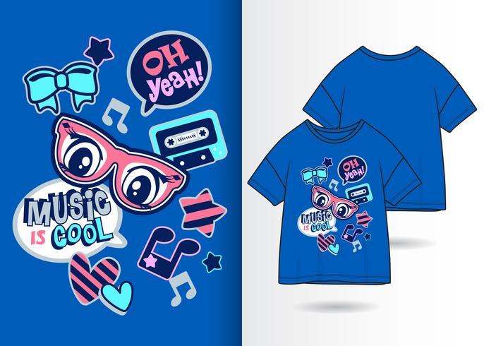 Musik ist coole Hand gezeichneter T-Shirt Entwurf vektor