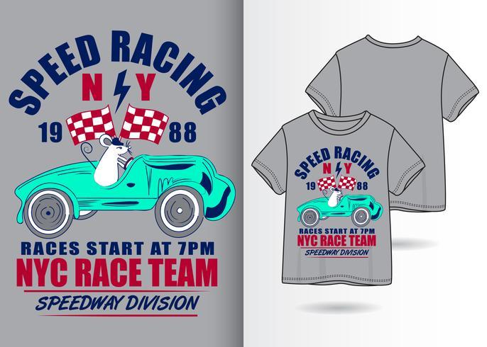 Speed Racing handritad t-shirtdesign vektor