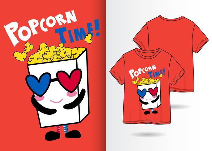 Hand gezeichnetes nettes Popcorn mit T-Shirt Design vektor