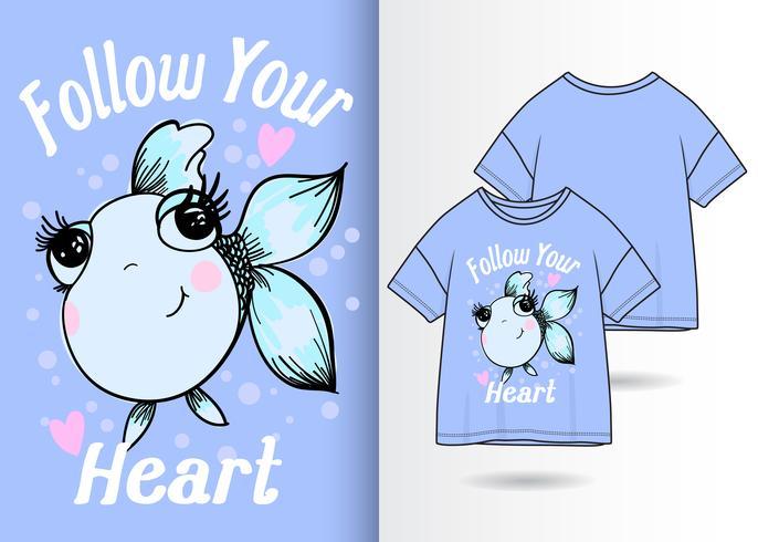 Folgen Sie Ihrem Herz-Fisch-Hand gezeichneten T-Shirt Entwurf vektor