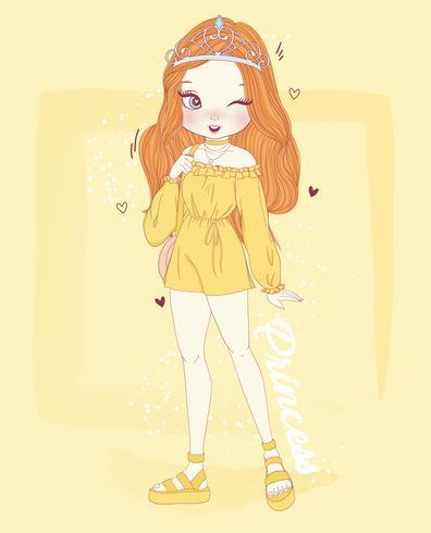Übergeben Sie das gezogene nette Mädchen, das gelbe Ausstattung und Krone mit Prinzessintypographie trägt vektor