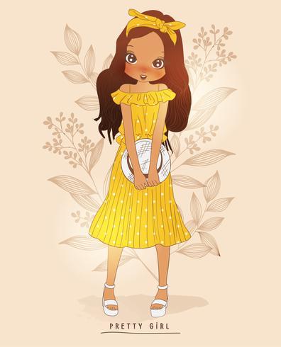 Handritad gullig flicka i gul klänning med blommabakgrund vektor