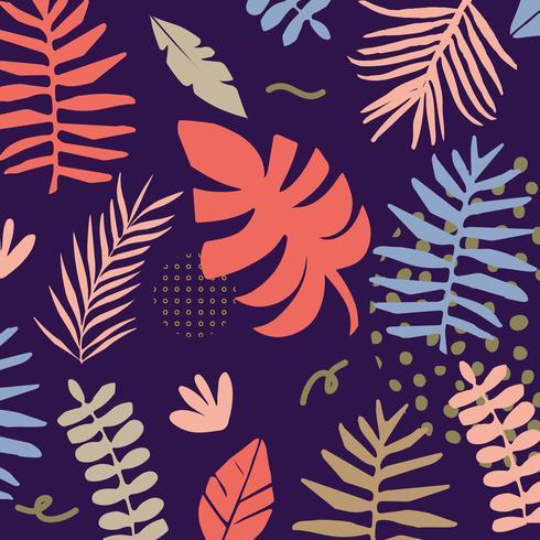 Tropiska djungelblad och blommabakgrund vektor