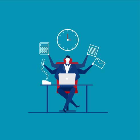 Upptagen tid för affärsman med många armar som arbetar hårt vektor