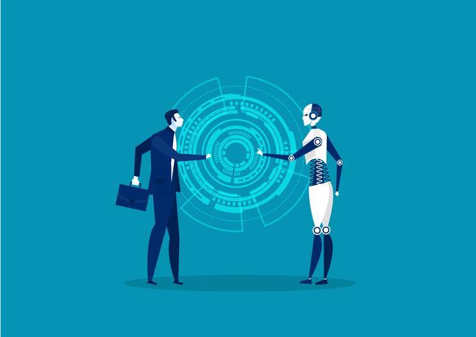 Roboter und Mensch kooperieren vektor