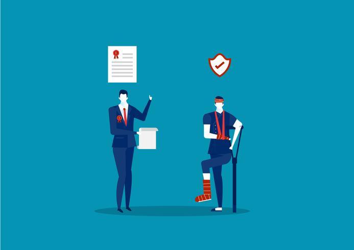 Skadad anställd med kryckor och företag som erbjuder försäkring för fordran vektor