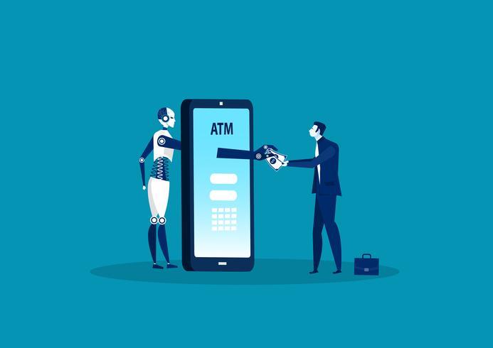 Kontantuttryck för robottjänst med mobil ATM-betalning vektor