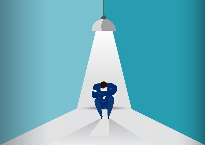 Geschäftsmann sitzen traurig unter Glühbirne, fehlgeschlagenes Geschäftskonzept vektor