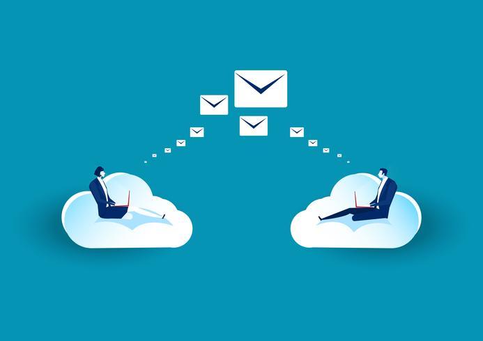 affärsmän som sitter på molnet för att skicka e-post vektor
