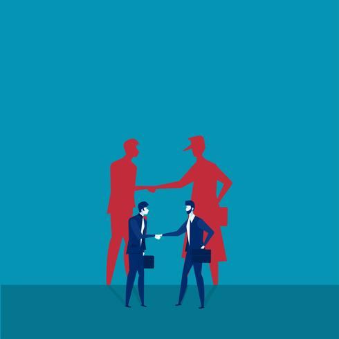 Två affärsmän som skakar hand med skuggor vektor