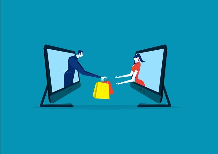 online shopping på bärbar dator eller e-handel på blå bakgrund vektor