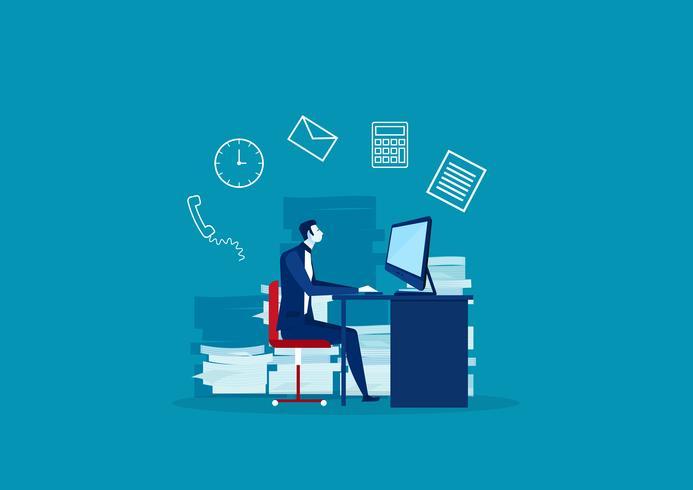 Upptagen tid för affärsman i att arbeta hårt vektor
