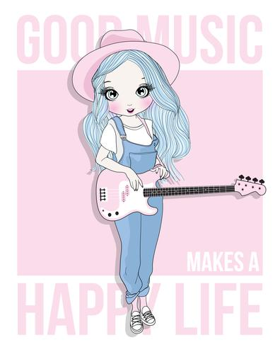 Hand gezeichnetes nettes Mädchen, das Gitarre spielt vektor
