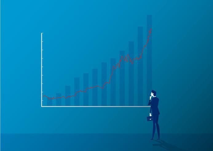 Affärsman bakifrånanseende som ser ljussticksdiagrammet vektor