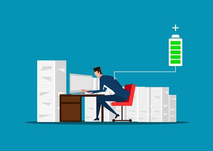 affärsman eller chef som sitter nära högen med dokument som laddar batteri vektor