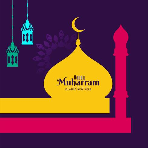 Abstrakt glad Muharram färgglad design vektor