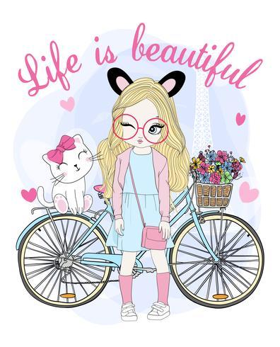 Hand gezeichnetes nettes Mädchen mit Fahrrad und Katze vektor