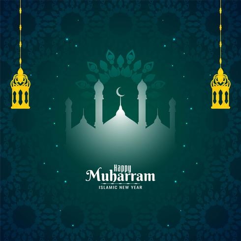 Islamisches neues Jahr glückliches Muharram-Design vektor