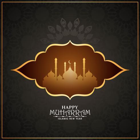 Glücklicher Muharran stilvoller islamischer Moscheenentwurf vektor