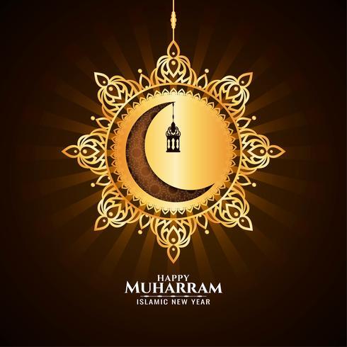 Glücklicher Muharran mit goldenem hängendem Mond vektor