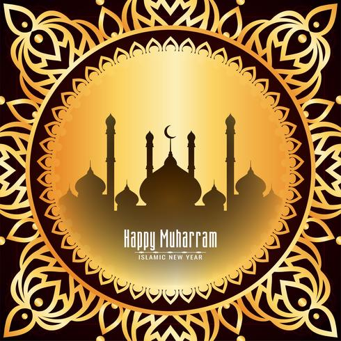 Lycklig Muharran gyllene ram hijri design vektor