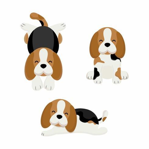 Söt beaglehundtecknad film. Vektorillustration vektor