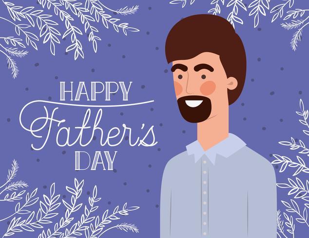 lyckliga fädernas dagskort med växtdekoration vektor