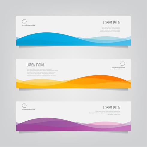 Uppsättning av horisontella abstrakta vågiga banners vektor