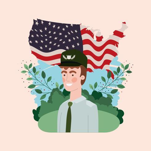 Soldat mit USA-Flagge auf dem Gebiet vektor