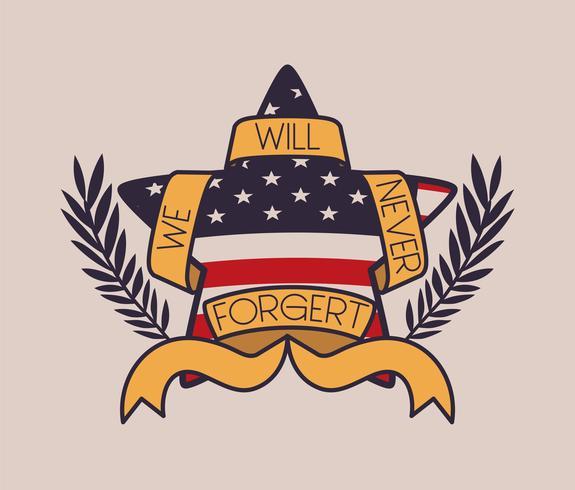 stjärna med krans och USA-flaggan för minnesdagens emblem vektor
