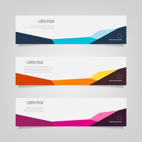 Uppsättning abstrakta geometriska färgglada former banners vektor