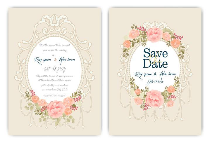 Hochzeitseinladungskarte mit buntem Blumen und Blättern. vektor