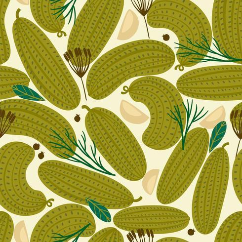 Nahtloses Muster des Vektors mit in Büchsen konservierten Gurken vektor