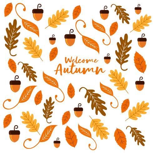 Nüsse und Blatt-Hintergrund-Beschaffenheit für Autumn Season vektor