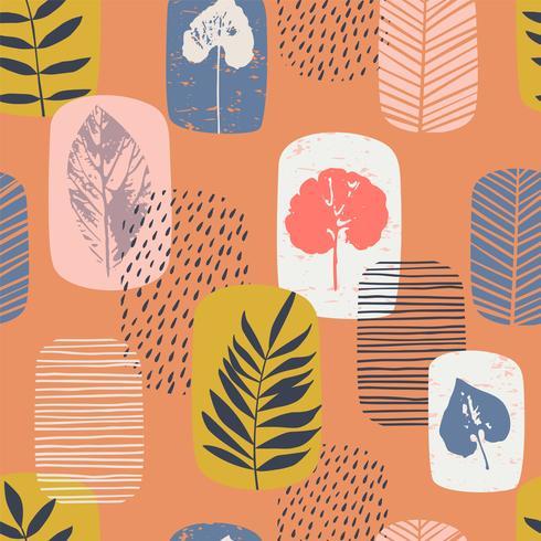 Nahtloses Muster des abstrakten Herbstes mit Blättern vektor
