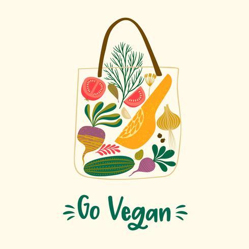 Gehen Sie mit Gemüse in einer Tasche vegan vektor